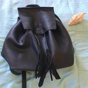 "Black ""Leather"" Backpack Skinny Straps drawstring"